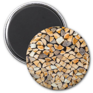 Pile of firewood as tree trunk 2 inch round magnet