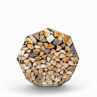 Pile of firewood as tree trunk acrylic award