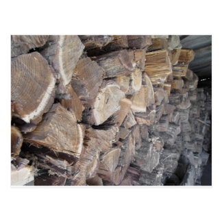 Pile of firewood postcard