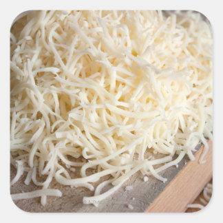 Pile of fresh mozzarella cheese. square sticker