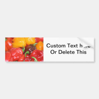 pile of habanero hot peppers car bumper sticker