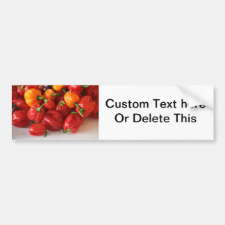 pile of habanero hot peppers top car bumper sticker