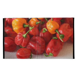 pile of habanero hot peppers top iPad case