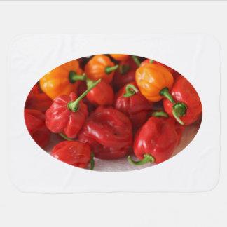 pile of habanero hot peppers top baby blanket