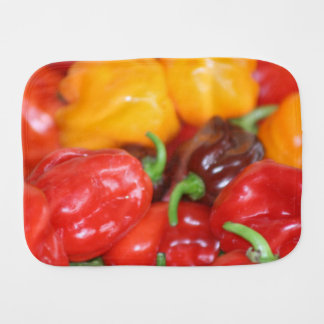pile of habanero hot peppers burp cloth