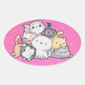 Pile of Kittens Oval Sticker