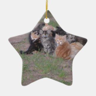 Pile of Kitties Ceramic Ornament