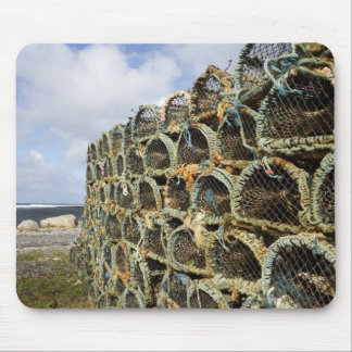 pile of lobster crab pots on Irish shoreline Mouse Pad