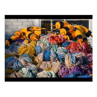 Pile of lobster fishing gear on dock in Maine. Postcard