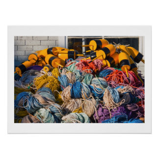Pile of lobster fishing gear on dock in Maine. Poster
