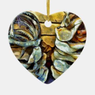 Pile of marine jaws ceramic ornament