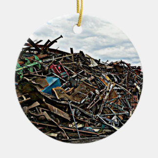 Pile of Metal Junk for Recycling Double-Sided Ceramic Round Christmas Ornament