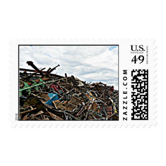Pile of Metal Junk for Recycling Stamp