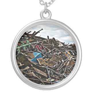 Pile of Metal Junk for Recycling Silver Plated Necklace