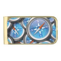 Pile of Nautical Compasses Gold Finish Money Clip