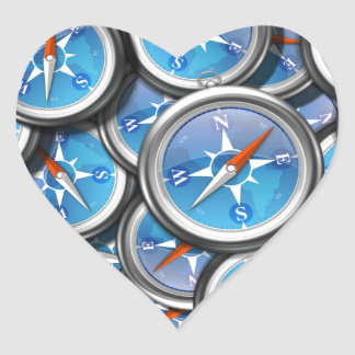 Pile of Nautical Compasses Heart Sticker