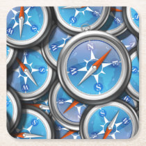 Pile of Nautical Compasses Square Paper Coaster