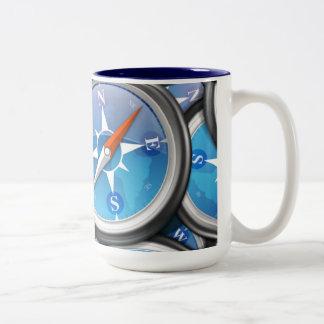 Pile of Nautical Compasses Two-Tone Coffee Mug
