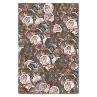 """Pile of Pennies - One Cent Penny Spread Background 10"""" X 15"""" Tissue Paper"""
