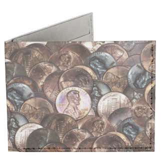 Pile of Pennies - One Cent Penny Spread Background Tyvek® Billfold Wallet