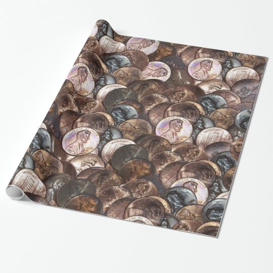 Pile of Pennies - One Cent Penny Spread Background Wrapping Paper