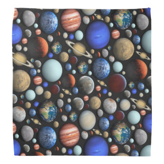 Pile of Planets space themed pattern Bandana
