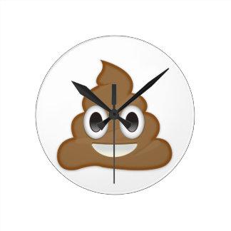 Pile Of Poo Emoji Round Clock