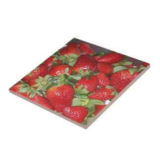 Pile of Red Juicy Strawberries Ceramic Tile