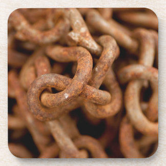 Pile of Rusty Chains Beverage Coaster