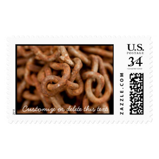 Pile of Rusty Chains; Customizable Postage Stamp