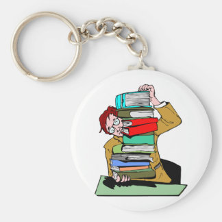 Pile Of Schoolbooks Basic Round Button Keychain