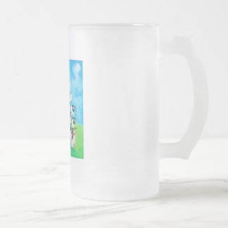 Pile of sheep frosted glass beer mug