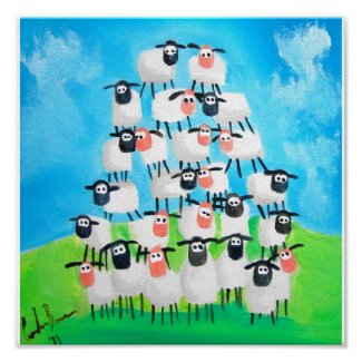 Pile of sheep poster