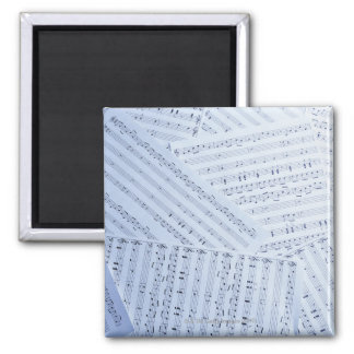Pile of Sheet Music 2 Inch Square Magnet