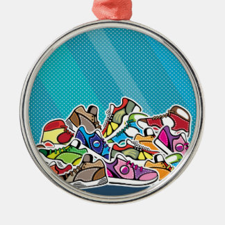 Pile of shoes vector pop art metal ornament