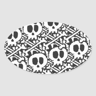 Pile of Skulls Oval Sticker
