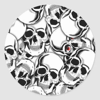 Pile of Skulls Red Eye ID222 Classic Round Sticker