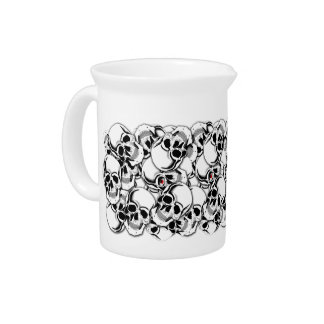 Pile of Skulls Red Eye ID222 Drink Pitcher