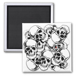 Pile of Skulls Red Eye ID222 Magnet