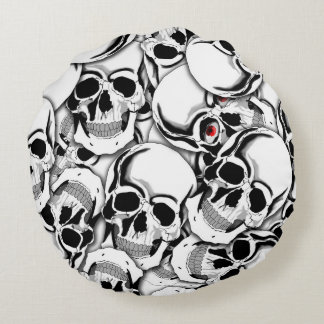 Pile of Skulls Red Eye ID222 Round Pillow