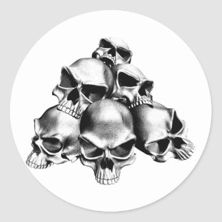 Pile of Skulls Round Stickers