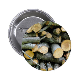 Pile of Stacked Cut Firewood Pinback Button