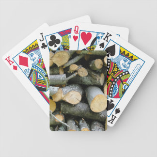 Pile of Stacked Cut Firewood Card Deck