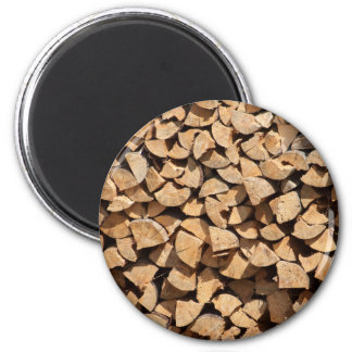 Pile Of Wood 2 Inch Round Magnet