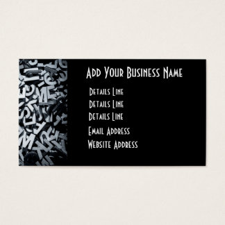Pile of wooden letters in English and monochrome Business Card