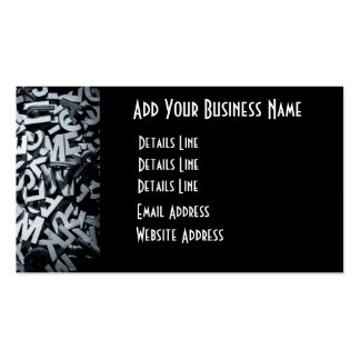 Pile of wooden letters in English and monochrome Double-Sided Standard Business Cards (Pack Of 100)