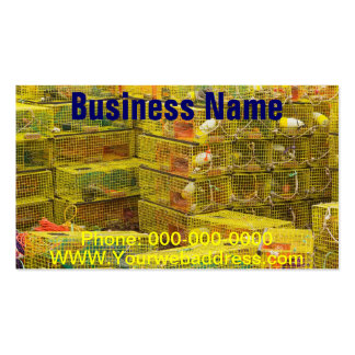 Pile of Yellow Lobster Traps In Maine Business Card