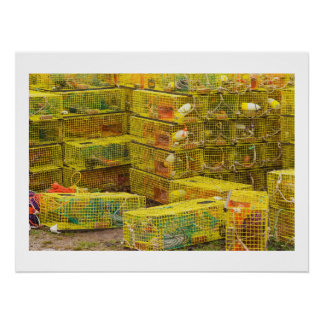 Pile of Yellow Lobster Traps In Maine Perfect Poster