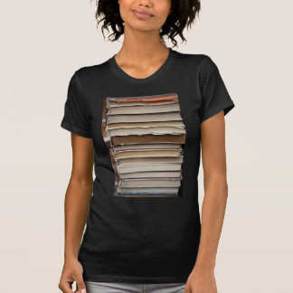 PILE OLD BOOKS DIGITAL PHOTOGRAPHY GRAPHICS STUDY TSHIRTS