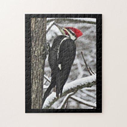 Pileated Woodpecker Bird in Winter Puzzle